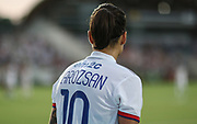 Olympique Lyonnais midfielder Dzsenifer Marozsan (10) prepares to kick from the corner in a game against the North Carolina Courage during an International Champions Cup women's soccer game, Sunday, Aug. 18, 2019, in Cary, Olympique Lyonnais bested the North Carolina Courage 1-0 in the finals.  (Brian Villanueva/Image of Sport)