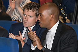 © Licensed to London News Pictures . 27/09/2015 . Brighton , UK . TRISTRAM HUNT and CHUKA UMUNNA at a Progress Rally fringe event at screen one of the Odeon Cinema on Brighton seafront , during the 2015 Labour Party Conference . Photo credit : Joel Goodman/LNP