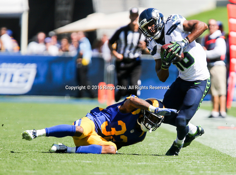 Seattle Seahawks wide receiver Tyler Lockett (16) is defended by Los Angeles Rams cornerback Troy Hill (32) during a NFL football game, Sunday, Sept. 18, 2016, in Los Angeles. The Rams won 9-3.(Photo by Ringo Chiu/PHOTOFORMULA.com)<br /> <br /> Usage Notes: This content is intended for editorial use only. For other uses, additional clearances may be required.