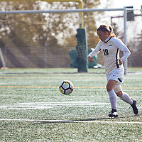 4th year defender, Cassie Longmuir (18) of the Regina Cougars during the Women's Soccer home game on Sun Oct 07 at U of R Field. Credit: Arthur Ward/Arthur Images