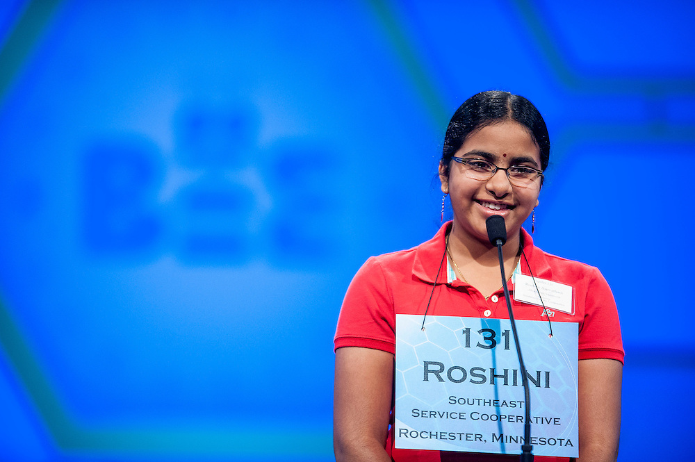 Roshini Asirvatham, 12, of Rochester, MN, competes in the semifinal round of the 85th Annual Scripps National Spelling Bee at the Gaylord National Resort & Convention Center in National Harbor, Md., near Washington, D.C.