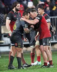 Highlanders Ash Dixon, left, and Crusaders Israel Dagg exchange a hongi after the Super Rugby quarter final match, AMI Stadium, Christchurch, New Zealand, July 22 2017.  Credit:SNPA / Adam Binns ** NO ARCHIVING**