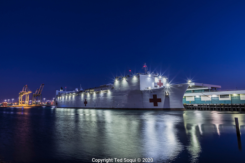 The USNS Hospital Ship Mercy is docked at the Port of Los Angeles and is now open to receive patients. The Mercy has 1000 beds and will treat non-Covid-19 cases, freeing up Los Angeles area hospitals to treat people with the virus.<br /> 3/29/2020 San Pedro, CA USA