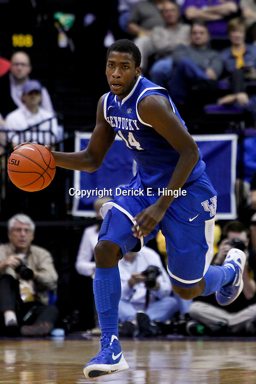 January 28, 2012; Baton Rouge, LA; Kentucky Wildcats forward Michael Kidd-Gilchrist (14) against the LSU Tigers during a game at the Pete Maravich Assembly Center. Kentucky defeated LSU 74-50.  Mandatory Credit: Derick E. Hingle-US PRESSWIRE