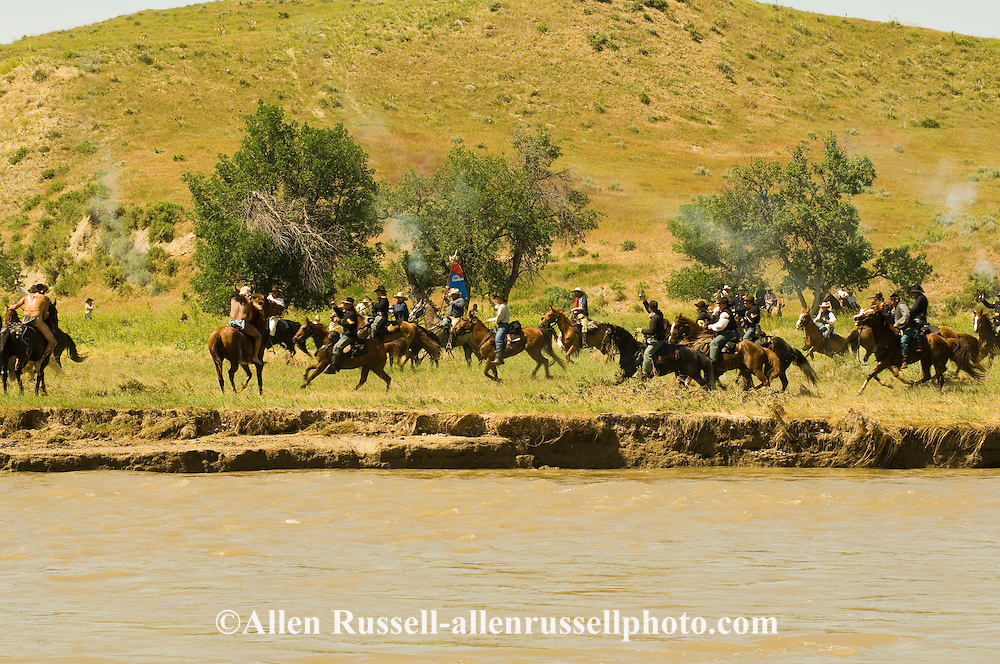 Custers Last Stand Reenactment at Medicine Tail Coulee on Little Bighorn River, Warriors defeat Custer and 7th Cavalry, Real Bird Reenactment