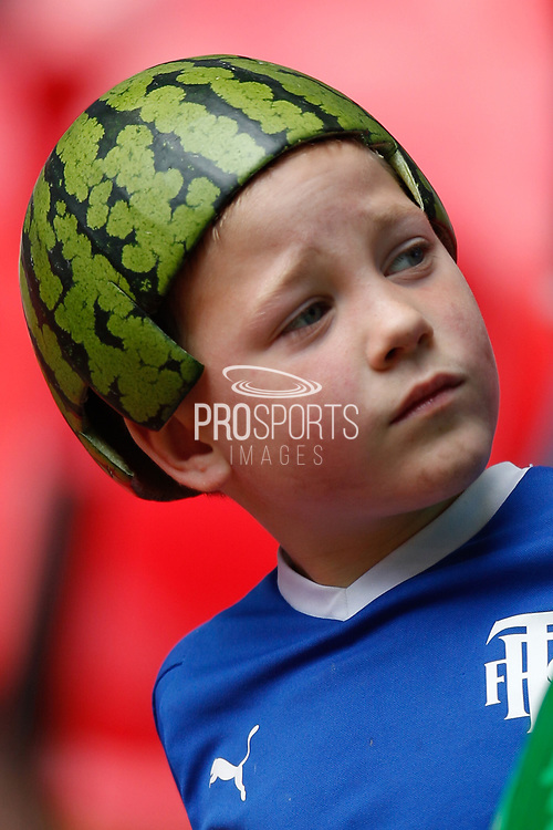 Tranmere Rovers football fan, football supporters, with melon hat, during the EFL Sky Bet League 2 Play Off Final match between Newport County and Tranmere Rovers at Wembley Stadium, London, England on 25 May 2019.