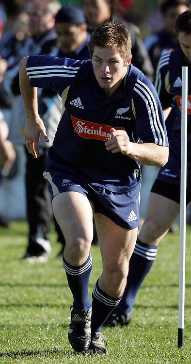 Richard McCaw during the All Blacks training session at Silverdale United RFC, North of Auckland, New Zealand, Wednesday 7th July 2004. The All Blacks play the Pacific Islanders on Saturday.<br />