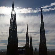 Subterrafuge spires silhouette at AfrikaBurn 2014, Tankwa Karoo desert, South Africa, The art installation is a comment against fracking in the Karoo desert.