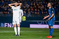 Fuenlabrada Dani Fernandez and Real Madrid Borja Mayoral during Copa del Rey match between Fuenlabrada and Real Madrid at Fernando Torres Stadium in Madrid, Spain. October 26, 2017. (ALTERPHOTOS/Borja B.Hojas)