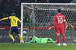 November 17, 2018 - Konya, Türkiye - Sweden's Andreas Granqvist penalty kick during Turkey vs. Sweden UEFA Nations League, League B game at Konya, Turkey, 17th Nov., 2018 (Credit Image: © Abdurrahman Antakyali/Depo Photos via ZUMA Wire)