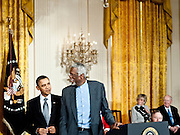 President Barack Obama awards the Medal of Freedom to  Bill Russell during a ceremony in the East Room of the White House in Washington DC on February 15, 2011. Photo by Kris Connor