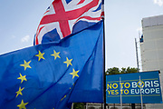 Days before the new leader of the Conservative Party and next Prime Minister of the UK is elected by its members (and expected to be Boris Johnson), the last weekend of Theresa May's unsuccessful Brexit from the European Union saw a March for Change protest with pro-EU Remainers marching through the capital demanding an end to Brexit and a No to a Johnson PM, on 20th July 2019, in London, England.