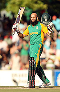 Hashim Amla celebrates his half century during the first Sunfoil ODI between the Proteas and Sri Lanka played at Boland Stadium in Paarl, South Africa on 11 January 2012. Photo by Jacques Rossouw/SPORTZPICS