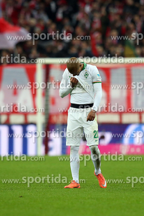 12.03.2016, Allianz Arena, Muenchen, GER, 1. FBL, FC Bayern Muenchen vs SV Werder Bremen, 26. Runde, im Bild Theodor Gebre Selassie ( SV Werder Bremen ) nach dem 5:0 // during the German Bundesliga 26th round match between FC Bayern Munich and SV Werder Bremen at the Allianz Arena in Muenchen, Germany on 2016/03/12. EXPA Pictures &copy; 2016, PhotoCredit: EXPA/ Eibner-Pressefoto/ Langer<br /> <br /> *****ATTENTION - OUT of GER*****