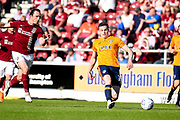 Oldham Athletic defender George Edmundson (15) on defensive duties  during the EFL Sky Bet League 1 match between Northampton Town and Oldham Athletic at Sixfields Stadium, Northampton, England on 5 May 2018. Picture by Dennis Goodwin.