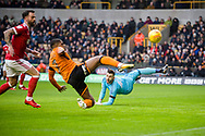 Ivan Cavaleiro of Wolverhampton Wanderers fails to connect at the back post during the EFL Sky Bet Championship match between Wolverhampton Wanderers and Nottingham Forest at Molineux, Wolverhampton, England on 20 January 2018. Photo by Darren Musgrove.