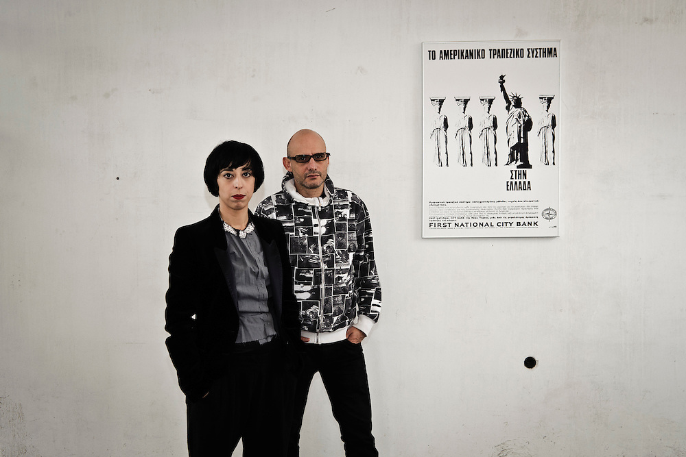 GREECE ATHENS OCTOBER 2011 Xenia Kalpaktsoglou and Poka-Yio (Polydoros Karyofylis), curators of the Athens Biennale 2011.