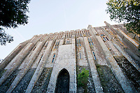 The outer wall of the Abbey at Mont-Saint-Michel, France,