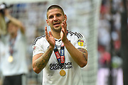 Fulham striker Aleksander Mitrovic (32)  celebrates in front of the Fulham fans during the EFL Sky Bet Championship play-off final match between Fulham and Aston Villa at Wembley Stadium, London, England on 26 May 2018. Picture by Dennis Goodwin.