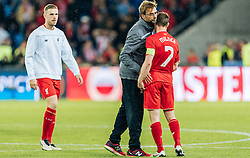 18.05.2016, St. Jakob Park, Basel, SUI, UEFA EL, FC Liverpool vs Sevilla FC, Finale, im Bild Entäuschung bei Jordan Henderson (FC Liverpool), Trainer Juergen Klopp (FC Liverpool), James Milner (FC Liverpool) // dejected after the defeat Jordan Henderson (FC Liverpool) Trainer Juergen Klopp (FC Liverpool) James Milner (FC Liverpool) during the Final Match of the UEFA Europaleague between FC Liverpool and Sevilla FC at the St. Jakob Park in Basel, Switzerland on 2016/05/18. EXPA Pictures © 2016, PhotoCredit: EXPA/ JFK