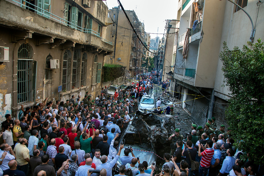 The site of a car bomb in the Achrafieh neighbourhood of Beirut, Lebanon. Three people were killed in the explosion, including security chief Wissam al-Hassan, a brigadier general in the Lebanese Internal Security Forces and who had been in charge of the investigation into the assassination of former Prime Minister Rafik Hariri, who was killed in similar circumstances in 2005.