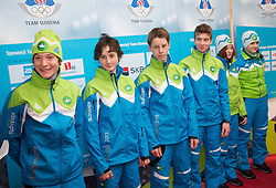 Anze Lanisek, Cene Prevc, Florjan Jelovcan, Nejc Seretinek during presentation of Team Slovenia for European Youth Olympic Festival - EYOF Brasov 2013 on February 13, 2013 in Bled, Slovenia. (Photo By Vid Ponikvar / Sportida)