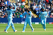 Wicket - Adil Rashid of England celebrates taking the wicket of Mohammad Mithun of Bangladesh during the ICC Cricket World Cup 2019 match between England and Bangladesh the Cardiff Wales Stadium at Sophia Gardens, Cardiff, Wales on 8 June 2019.