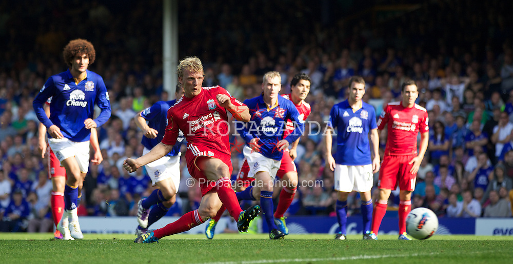 LIVERPOOL, ENGLAND - Saturday, October 1, 2011: Liverpool's Dirk Kuyt misses a penalty kick against Everton during the Premiership match at Goodison Park. (Pic by Vegard Grott/Propaganda)