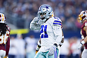 ARLINGTON, TX - NOVEMBER 22:  Ezekiel Elliott #21 of the Dallas Cowboys celebrates after making a first down during a game against the Washington Redskins at AT&T Stadium on November 22, 2018 in Arlington, Texas.  The Cowboys defeated the Redskins 31-23.  (Photo by Wesley Hitt/Getty Images) *** Local Caption *** Ezekiel Elliott