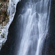 Waterfall de La Perouse detail with ice on the side
