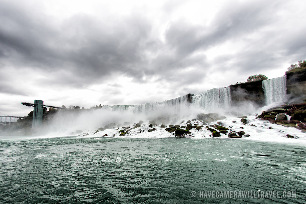 The American Falls, seen from water level, at Niagara Falls on the Niagara River on the border between the United States and Canada.