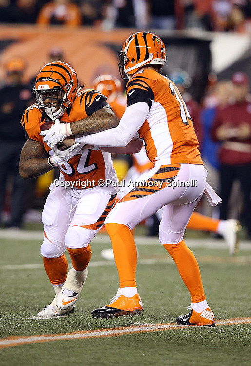 Cincinnati Bengals quarterback Andy Dalton (14) hands off the ball to Cincinnati Bengals running back Jeremy Hill (32) during the 2015 week 10 regular season NFL football game against the Houston Texans on Monday, Nov. 16, 2015 in Cincinnati. The Texans won the game 10-6. (©Paul Anthony Spinelli)