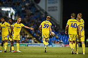 AFC Wimbledon Forward, Joe Piggott (39) celebrates after scoring a goal to make it 1-1 during the Carabao Cup match between Portsmouth and AFC Wimbledon at Fratton Park, Portsmouth, England on 14 August 2018.
