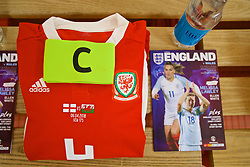 SOUTHAMPTON, ENGLAND - Friday, April 6, 2018: The shirt and captain's armband of Wales' Sophie Ingle laid out in the dressing room before the FIFA Women's World Cup 2019 Qualifying Round Group 1 match between England and Wales at St. Mary's Stadium. (Pic by David Rawcliffe/Propaganda)