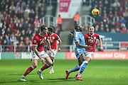 Wolverhampton Wanderers Benik Afobe & Bristol City's Luke Ayling challenge for the ball during the Sky Bet Championship match between Bristol City and Wolverhampton Wanderers at Ashton Gate, Bristol, England on 3 November 2015. Photo by Shane Healey.