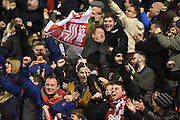 Forest fans celebrate after going 2-1 up after a Nottingham Forest forward Ben Brereton (45) goal during the EFL Sky Bet Championship match between Nottingham Forest and Aston Villa at the City Ground, Nottingham, England on 4 February 2017. Photo by Jon Hobley.