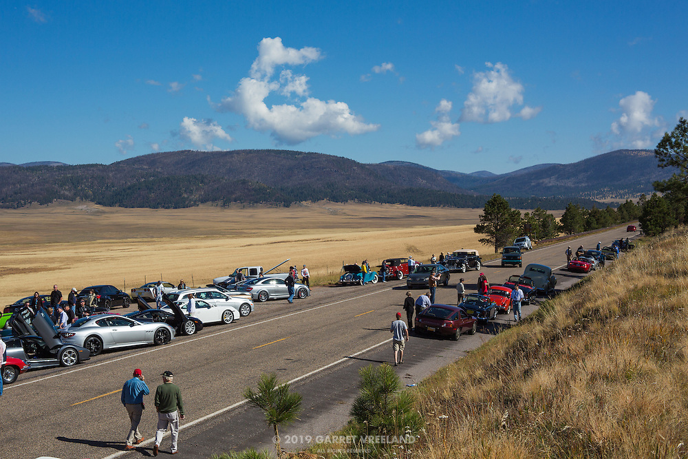 Concorso at Valles Caldera parking area. 2012 Santa Fe Concorso High Mountain Tour.