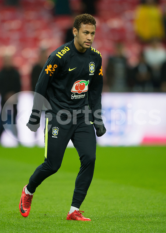 Neymar of Brazil warms up before during the International Friendly match between England and Brazil at Wembley Stadium, London, England on 14 November 2017. Photo by Vince Mignott.