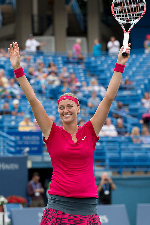 August 23, 2014, New Haven, CT:<br /> Petra Kvitova reacts after match point to win the singles final against Magdalena Rybarikova on day nine of the 2014 Connecticut Open at the Yale University Tennis Center in New Haven, Connecticut Saturday, August 23, 2014.<br /> (Photo by Billie Weiss/Connecticut Open)