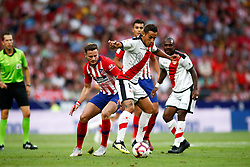 August 25, 2018 - Trejo of Rayo and Saul of Atletico de Madrid during the spanish league, La Liga, football match between Atletico de Madrid and Rayo Vallecano on August 25, 2018 at Wanda Metropolitano stadium in Madrid, Spain. (Credit Image: © AFP7 via ZUMA Wire)