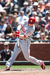 SAN FRANCISCO, CA - JUNE 26: Cody Asche #25 of the Philadelphia Phillies hits a two-run single against the San Francisco Giants during the fifth inning at AT&T Park on June 26, 2016 in San Francisco, California.  (Photo by Jason O. Watson/Getty Images) *** Local Caption *** Cody Asche