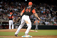 PHOENIX, AZ - AUGUST 27:  Paul Goldschmidt #44 of the Arizona Diamondbacks wearing a nickname-bearing jersey in action at first base in the game against the San Francisco Giants at Chase Field on August 27, 2017 in Phoenix, Arizona.  (Photo by Jennifer Stewart/Getty Images)