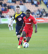 Dundee trialist Kieron Cadogan races away from Brechin's Andy Jackson - Brechin City v Dundee, pre-season friendly at Dens Park<br /> <br />  - &copy; David Young - www.davidyoungphoto.co.uk - email: davidyoungphoto@gmail.com