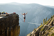 Scott Rogers plays the 60' Taft Point Highline.<br />