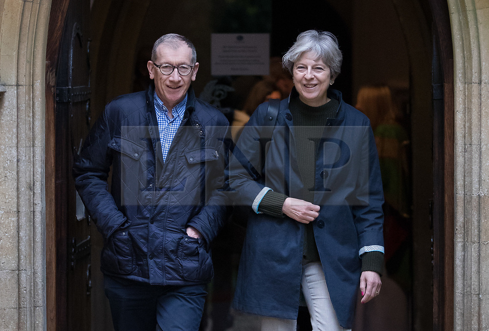 © Licensed to London News Pictures. 29/10/2017. Maidenhead, UK. Prime Minister Theresa May and her husband Philip attend church in her constituency. Photo credit: Peter Macdiarmid/LNP