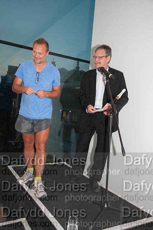 JUERGEN TELLER PRESENTING PRIZE TO WINNER JOHN STEZAKER, The Deutsche Börse Photography Prize 2012. Photographers Gallery. Ramillies Place, London. 3 September 2012.