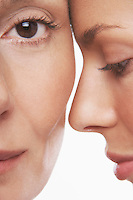 Two beautiful women face to face