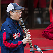 """Di Bostoner Klezmer"" performs on Yawkey Way during Fenway Park's Jewish Heritage Night at the game between the Atlanta Braves and the Boston Red Sox at Fenway Park on May 29, 2014 in Boston, Massachusetts. (Photo by Elan Kawesch/Times of Israel)"