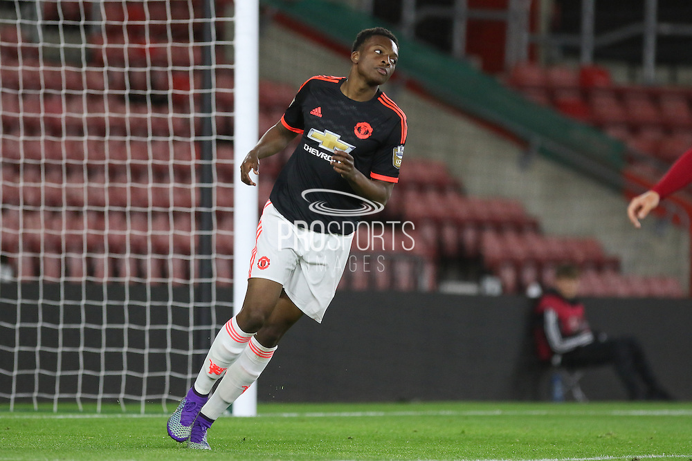 Manchester United U21 Matty Willock scores a goal  2-1 during the Barclays U21 Premier League match between U21 Southampton and U21 Manchester United at the St Mary's Stadium, Southampton, England on 25 April 2016. Photo by Phil Duncan.