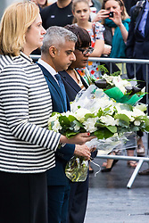 City Hall, London, June 5th 2017.  Home Secretary Amber Rudd, Mayor of London Sadiq Khan and Shadow Home Secretary Diane Abbott lay flowers at a vigil held in remembrance of those killed during the June 3rd terror attack at London Bridge and Borough Market.